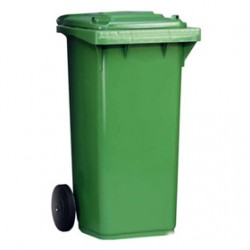 Cubo Basura Ruedas Verde 80L